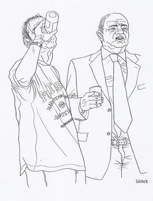 Zeichnung 194  Trinker  Tusche auf Karton,2009,   30 x 40 cm