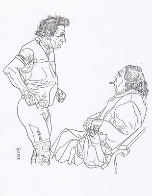 Zeichnung 104  Zigarettenpause   Tusche auf Karton2008,   30 x 40 cm