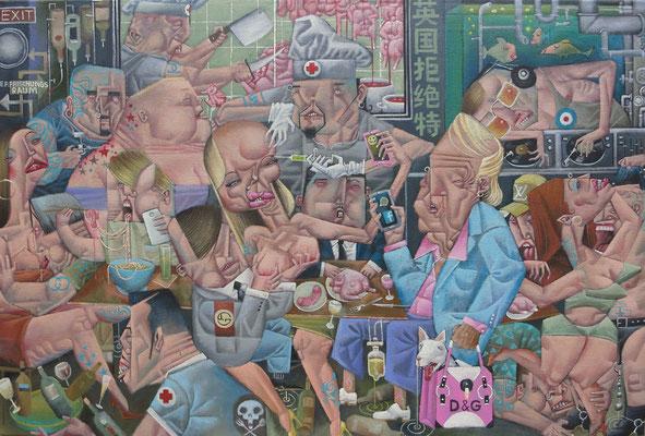 Gemälde 564 Exquisit in der Berliner Vinyl Nudelsuppen Lounge  Acryl auf grober Leinwand, 2017,  58 x 68 cm