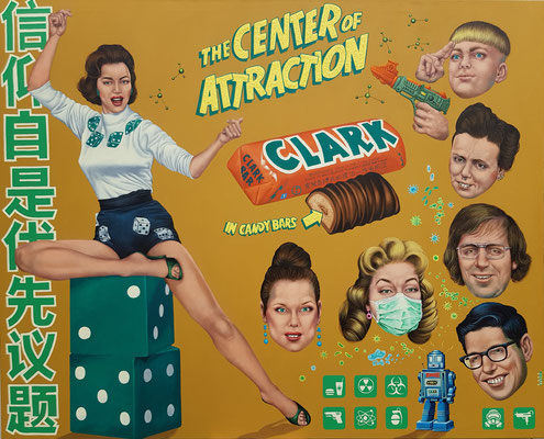 Gemälde 645,THE CENTER OF ATTRACTION, Acryl auf Leinwand,2020, 145 x 180 cm