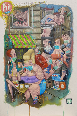 Gemälde 649, CAFE BUTTERSCHNECKE ,Acryl auf Leinwand,2020,40 x 60 cm