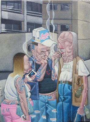 Gemälde 581, Raucherfortbildungsseminar, Acryl auf Leinwand, 2017,  30 x 40 cm