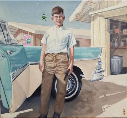 Gemälde 578 , Vor der Garage, Acryl auf Leinwand,2017, 37 x 40 cm