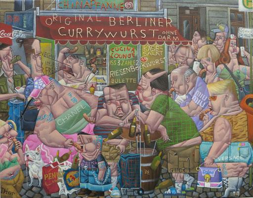 Gemälde    531. Voll in die Fresse, Acryl auf Leinwand, 2016, 55 x 70 cm