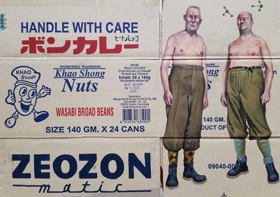 Gemälde 690, ZEOZON,  Acryl auf Verpackungspappe, 2021,46 x 64  cm