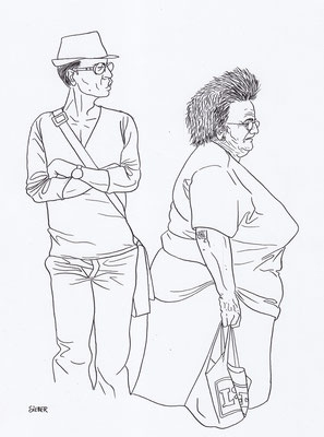 Zeichnung 171  Bodycheck  Tusche auf Karton,2009,   30 x 40 cm