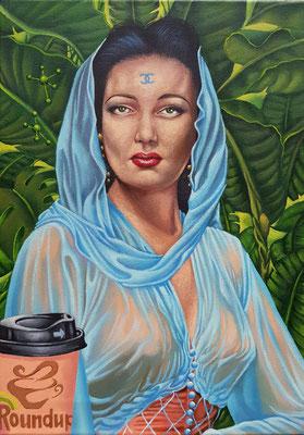Gemälde 620 Roundup, Acryl auf Leinwand, 2019, 35 x 50 cm