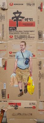Gemälde 625,trocken lagern, Acryl auf Pappe / Verpackungskarton, 2019,110 x 42 cm