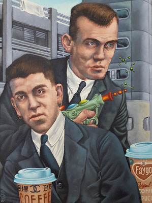 Gemälde 642,Two Men,Two Coffee,Acryl auf Leinwand,2020, 45 x 60 cm