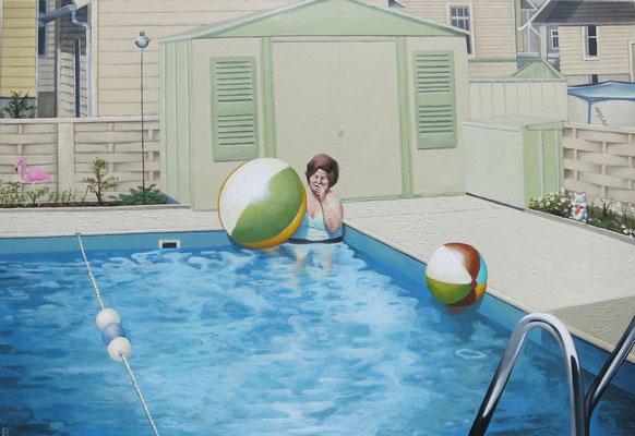 Gemälde 562, Ballspiele , Acryl auf Leinwand, 2017, 70 x 100 cm