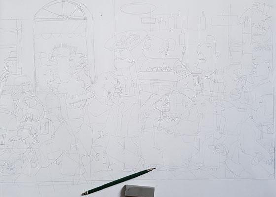 Vorzeichnung  / Skizze auf Papier.