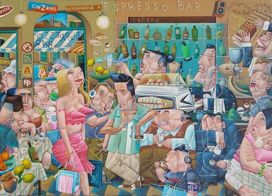 Gemälde 585,Espresso Bar, Acryl / Öl auf Leinwand, 2019, 50 x 70 cm