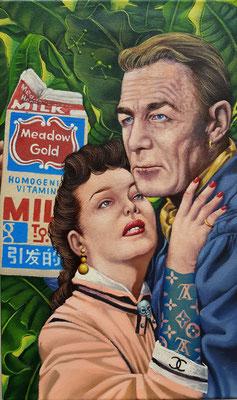 Gemälde 621,Gold, Acryl auf Leinwand, 2019, 30 x 50 cm