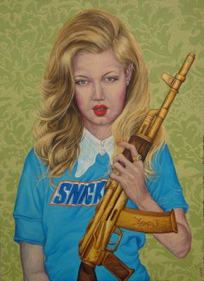 Gemälde 424,  Baby Gun   Acryl auf Leinwand,2012,   80 x 110 cm