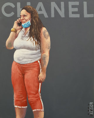 Gemälde 673,CHANEL Vol 5,Acryl auf Hartfaserplatte ,2020,30 x 24 cm