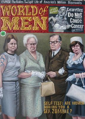 Gemälde 502,World of Men, Acryl auf Hartfaserplatte ,2015, 50 x 70 cm
