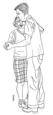 Zeichnung 259  Teenage Dance 1  Tusche auf Karton,2010, 30 x 40 cm