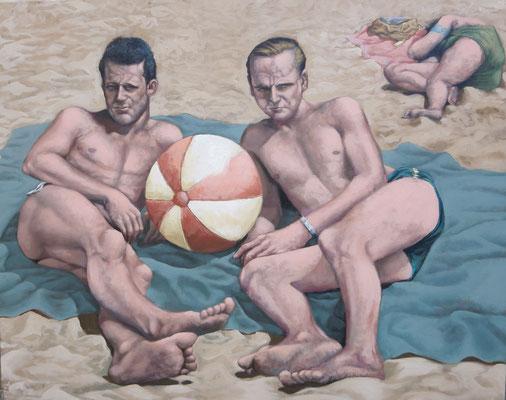 Gemälde 489 Ballspieler, Acryl auf Leinwand ,2015, 80 x 100 cm