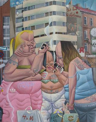 Gemälde  518. Junge dicke rauchende  Frauen in Gruppen, Acryl auf Leinwand, 2016, 40 x 50 cm
