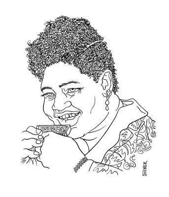 Zeichnung 266  Big Mama Thornton  Tusche auf Karton,2010, 25 x 32,5 cm