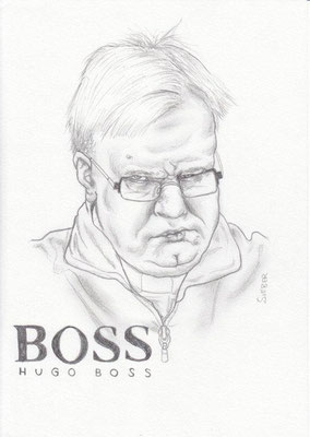 Zeichnung 452  Hugo Boss  Graphit  auf Karton,2011,  21x30 cm