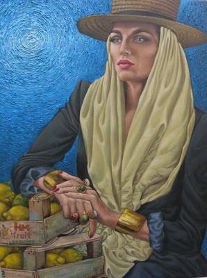 Gemälde 469, Zitronenernte unter der blauen Sonne,Acryl auf Leinwand,2014,60x80cm