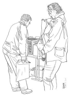 Zeichnung 148   Schallplattenbörse 3  Tusche auf Karton,2009, 30 x 40 cm