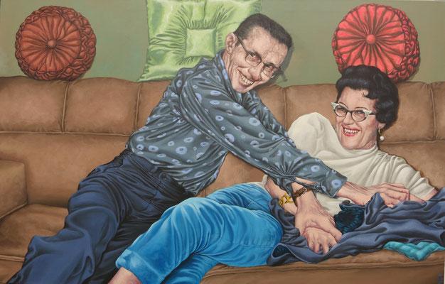 Gemälde Gemälde 551, In der Wohnlandschaft, Acryl auf Leinwand, 2017,90 x 140 cm