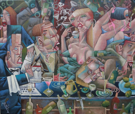 Gemälde 583, An der Tanke,Acryl / Öl auf Leinwand,2017, 30 x 35 cm