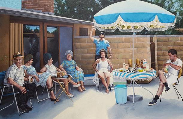 Gemälde 622, Hinter der Mauer, Acryl auf Leinwand, 2019, 115 x 175 cm