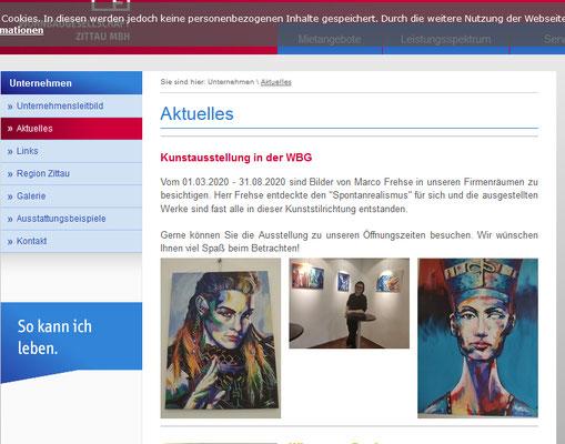 Anzeige meiner Ausstellung auf der Seite der Wohnbaugesellschaft Zittau.
