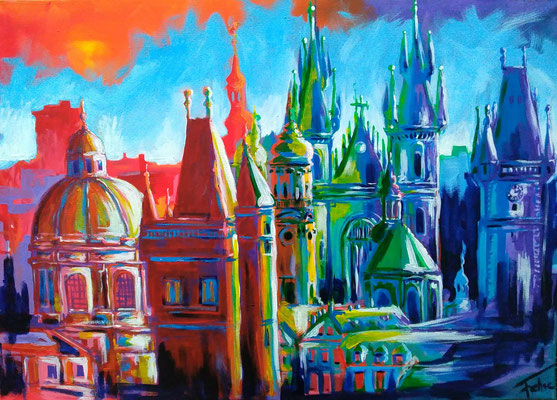 PRAGUE ROOFTOPS   | Acrylic on Canvas 50x40 cm |
