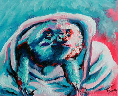 SLEEPY SLOTH   | Acrylic  on Canvas 24x30 cm |