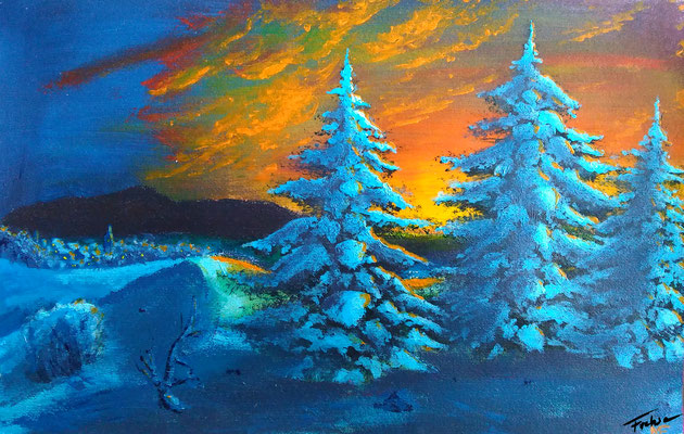 WINTER EVENING   | Acrylic on Cardboard 20x30 cm |