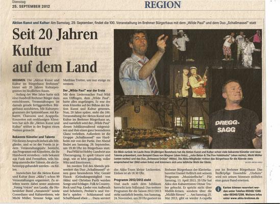 Fränkische Nachrichten vom 25.09.2012