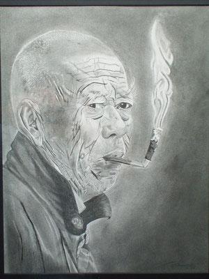 Opa rauchend 50 x 65 cm