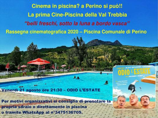 Piscina comunale Perino – Cinema sotto Le Stelle – agosto ODIO L'ESTATE venerdì 21 dalle ore 21:30 #OdioLEstate
