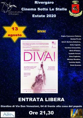 """RIVERGARO - V ed. Rassegna Cinematografica """"Cinema Sotto Le Stelle"""" Giardino Anguissola - via Don Veneziani, 64 -Rivergaro (PC) giovedì 13 agosto ore 21,30:  DIVA!"""