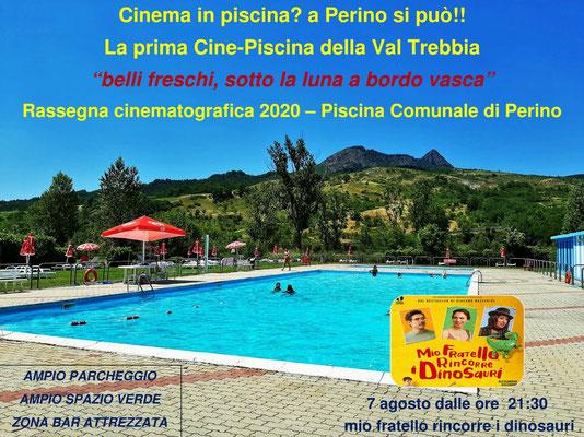 Piscina comunale Perino – Cinema sotto Le Stelle – agosto MIO FRATELLO RINCORRE I DINOSAURI venerdì 7 dalle ore 21:30
