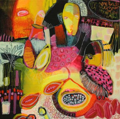 gouache on canvas, 50x50x4 cm