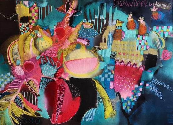 Strawberry thoughts - mixed media on cardboard, 81x112 cm