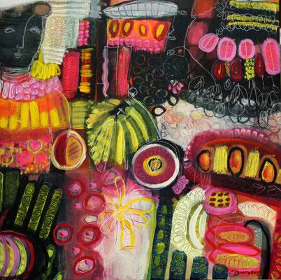 gouache on canvas, 60x60x4 cm