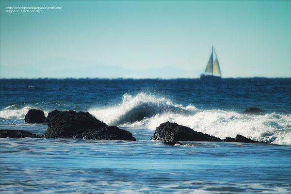 Un velero en el mar