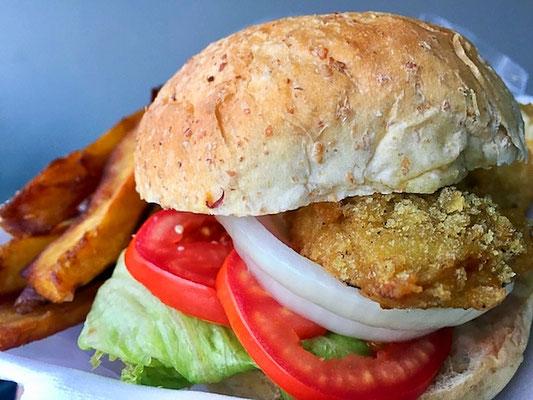 fried chicken burger at vegan heaven chaing mai thailand