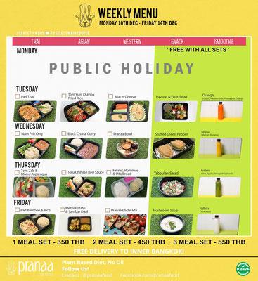 pranaa weekly menu