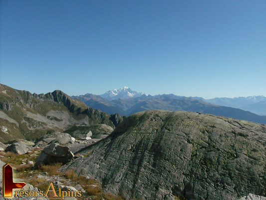 """Sous la pointe du Rognolet, au premier plan  avec les roches """"moutonnées"""" (Massif de la Lauzière, Savoie)"""