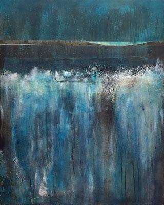 Behind the Waterfall  100 x 80 x 4 Acryl / Mixed Media