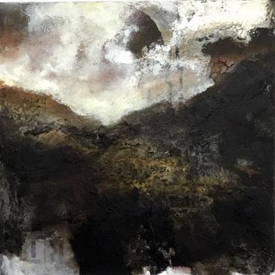 Bergspitze im Nebel  ( Chile ) 60 x 60 x 4   Acryl / Mixed Media