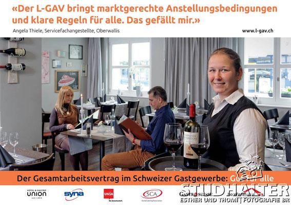 Inserate-Kampagne zum Gesamtarbeitsvertrag des Schweizer Gastgewerbes (Download: http://www.l-gav.ch/index.php?id=218&L=0)