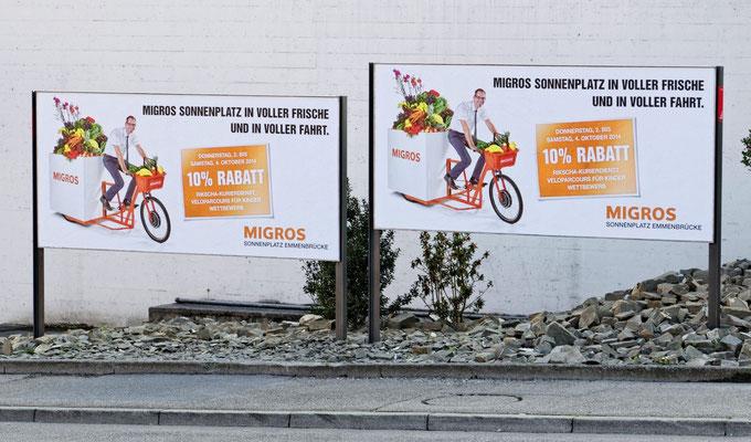 Plakate / Flyer / Inserate zur Eröffnung neue Migros MM Sonnenplatz Emmenbrücke, Okober 2014